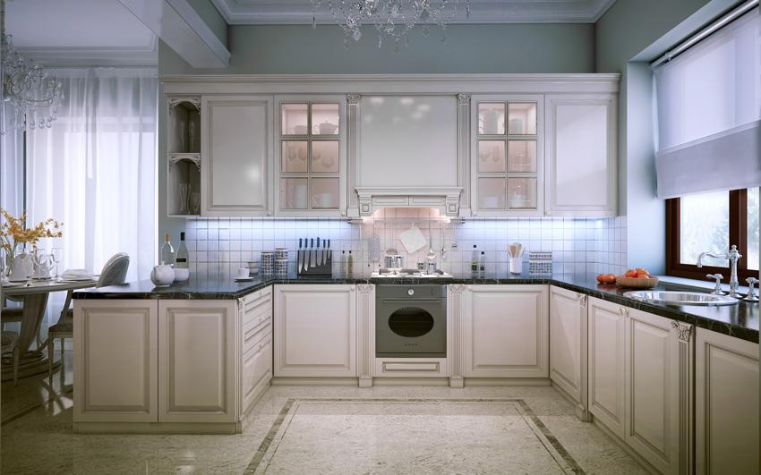 tende a pacchetto bianche trasparente, belle in una cucina moderna.