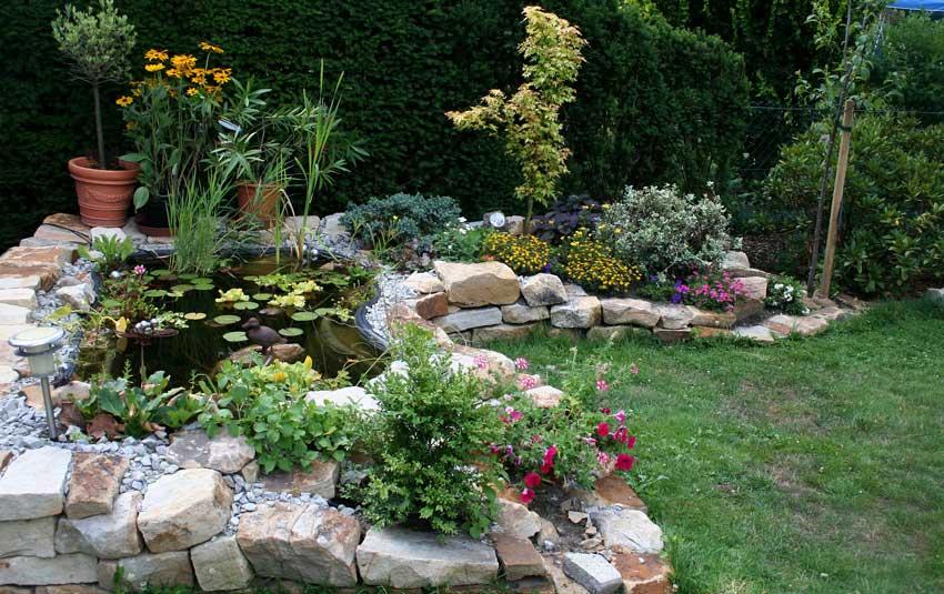 Laghetto da giardino con aiuole e pietre.