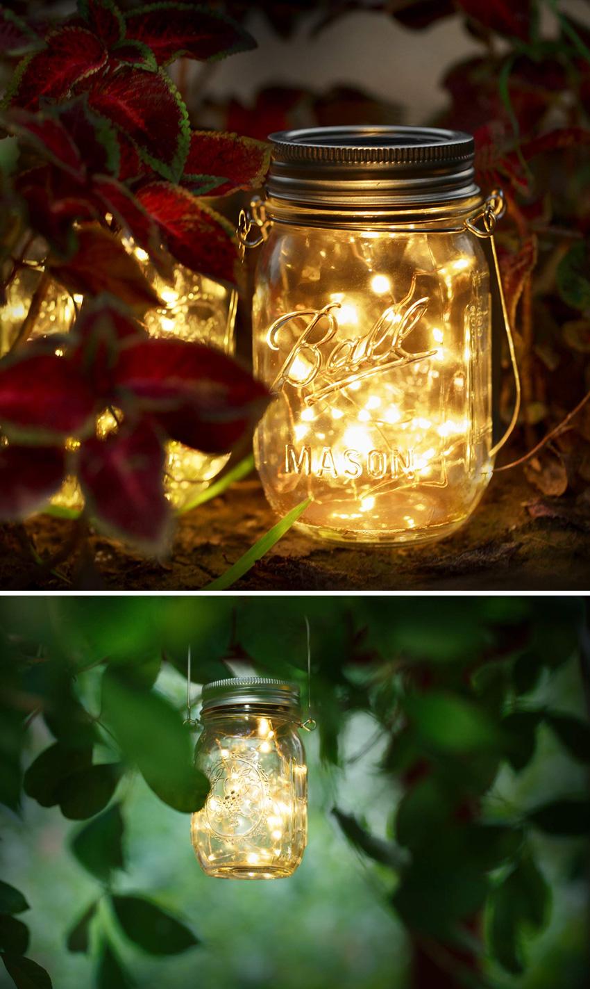barattolo in vetro con catena luminosa ad energia solare.