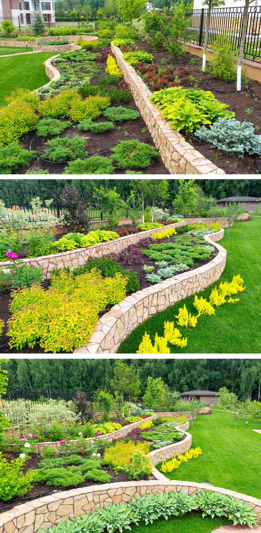 Grande bordatura da giardino realizzato in cemento e rivestito di pietre naturali.