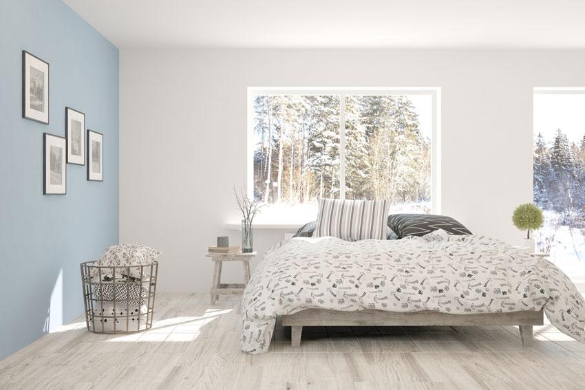 pareti bicolore azzurro e bianco, ideale per le camere moderne.