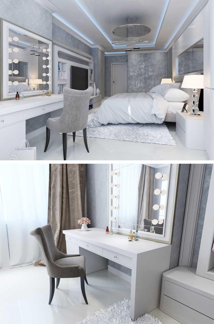 camera da letto con mobile da trucco con specchio illuminato, pareti grigie perla.