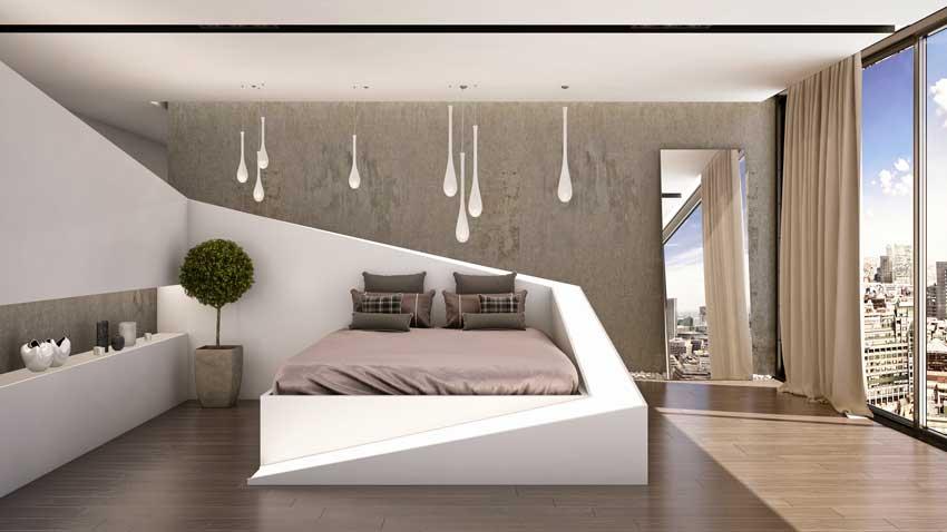 stanza da letto design con lampadine sospese, arredamento moderno.
