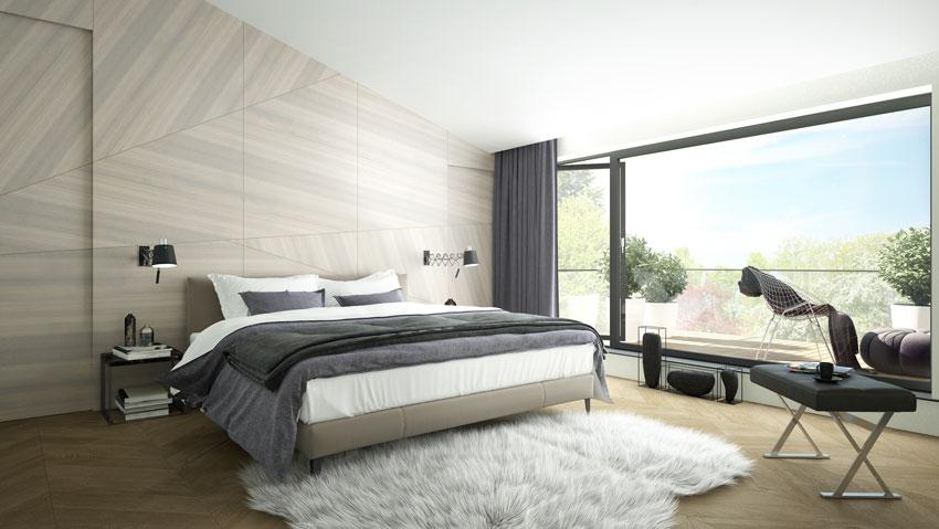Rivestimento pareti in legno in una camera da letto dallo stile moderno.