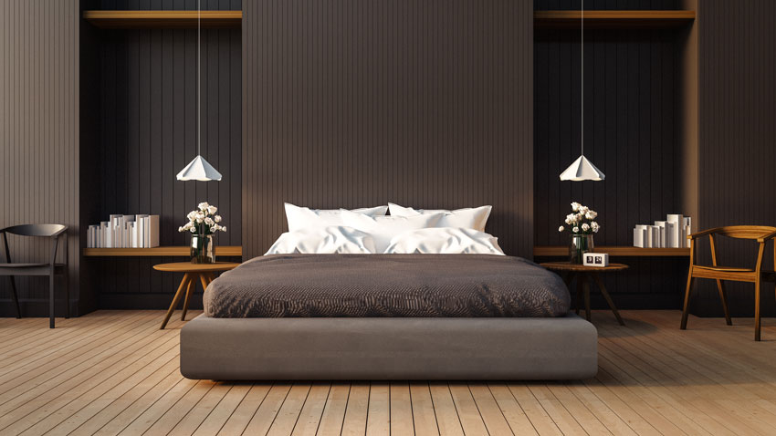 Illuminazione camere da letto moderne con lampade a sospensione.