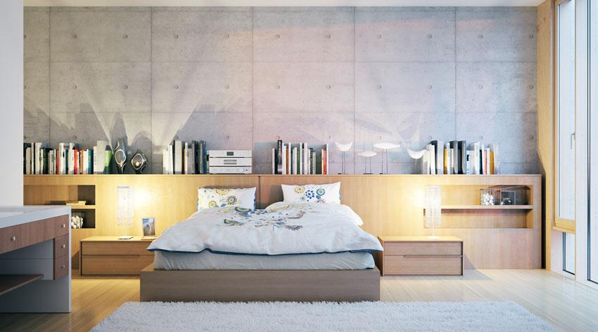 camera da letto moderna con lunga testiera in legno, ideale per una biblioteca.