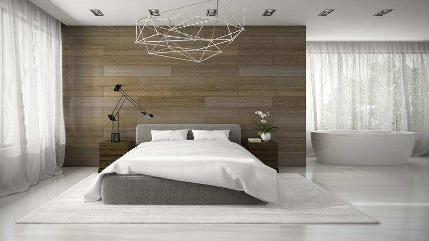 Camere da letto moderne, parete in legno e vasca design.