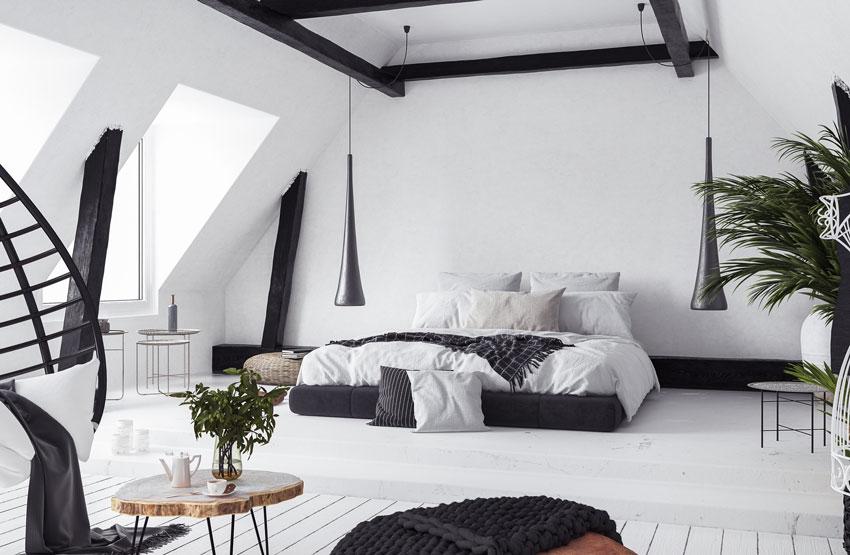 Bella camera da letto moderna bianca e nera, lampadari sospesi design.