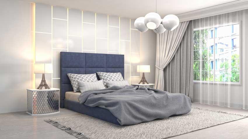 camera da letto moderna con testiera blu in stoffa, parete del letto con luci a led.