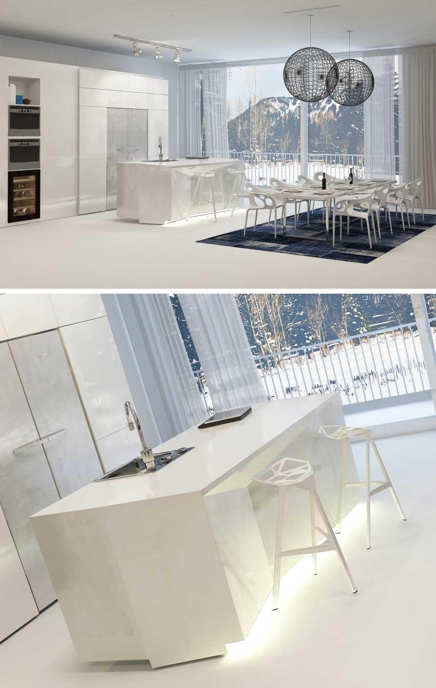 Ambiente modernissimo con grande zona living e cucina a scomparsa, arredamento contemporaneo.