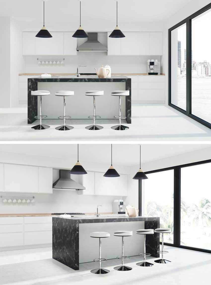 Cucina bianca minimal con isola centrale moderna, piano di lavoro in marmo nero, lampadari sospesi.