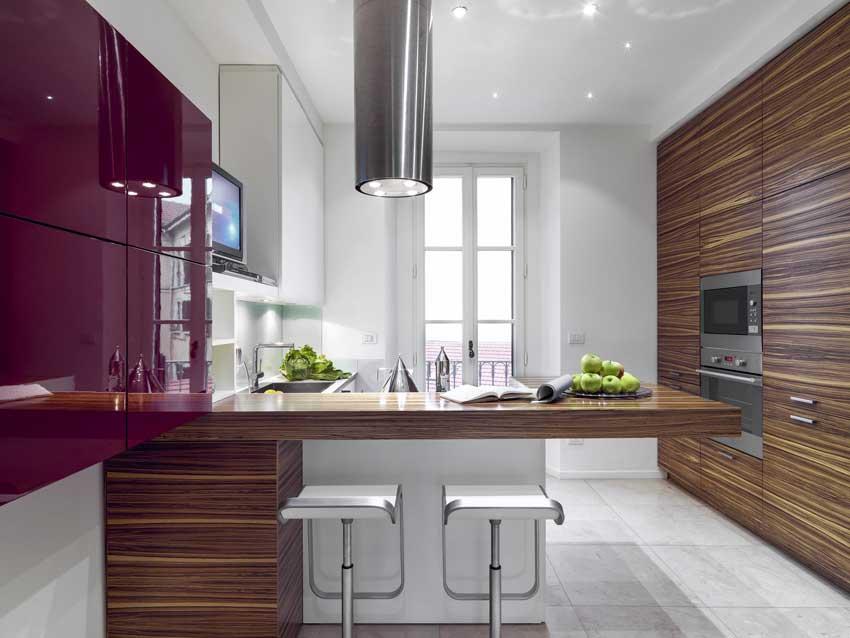 Lo stile moderno in questa cucina laccata bordeaux con penisola e parete attrezzata in legno.