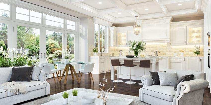 Un bellissimo ambiente open space bianco e legno, questa cucina a vista con isola centrale e magnifica.