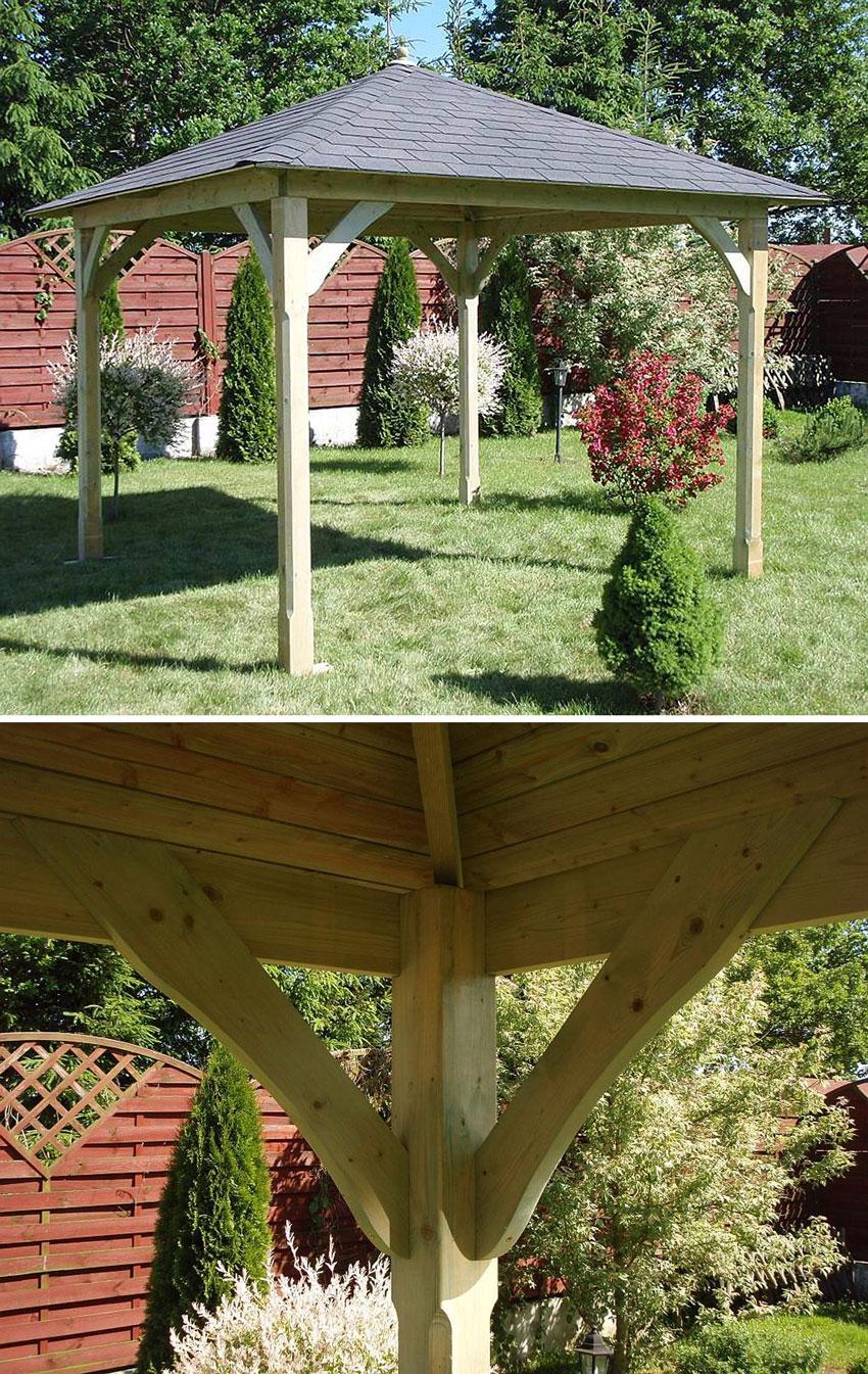 gazebo in legno classico dal design moderno con copertura.