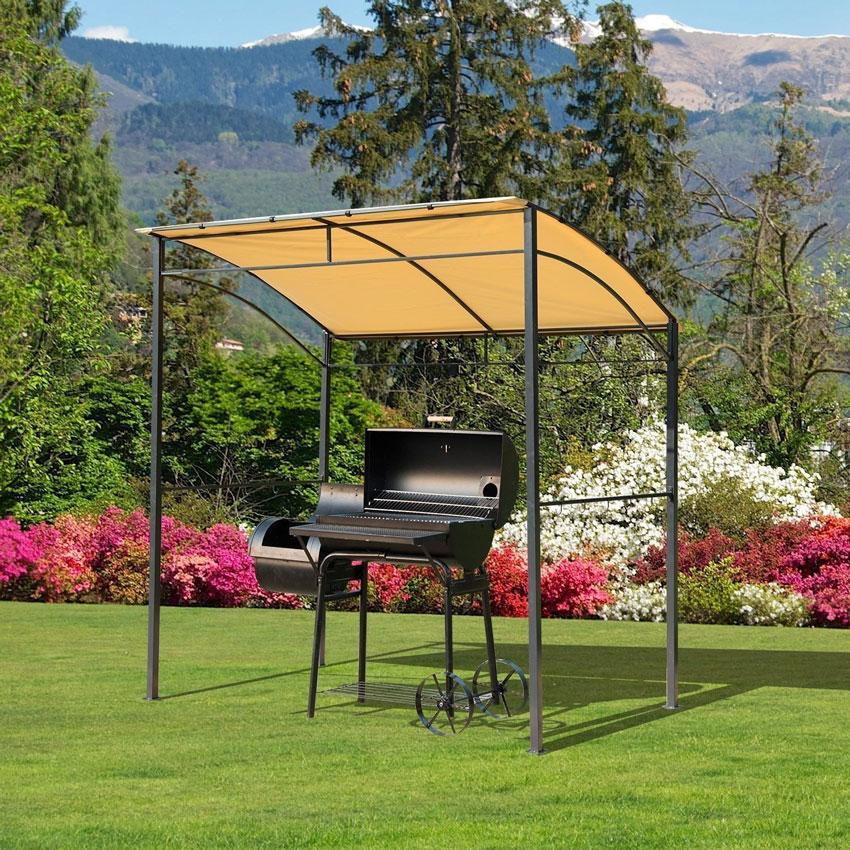 piccolo gazebo ideale come copertura per il barbecue.