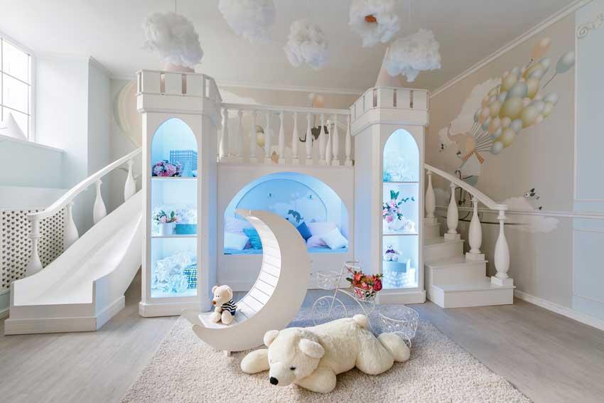 cameretta per bambini meravigliosa a forma di castello con illuminazione LED.