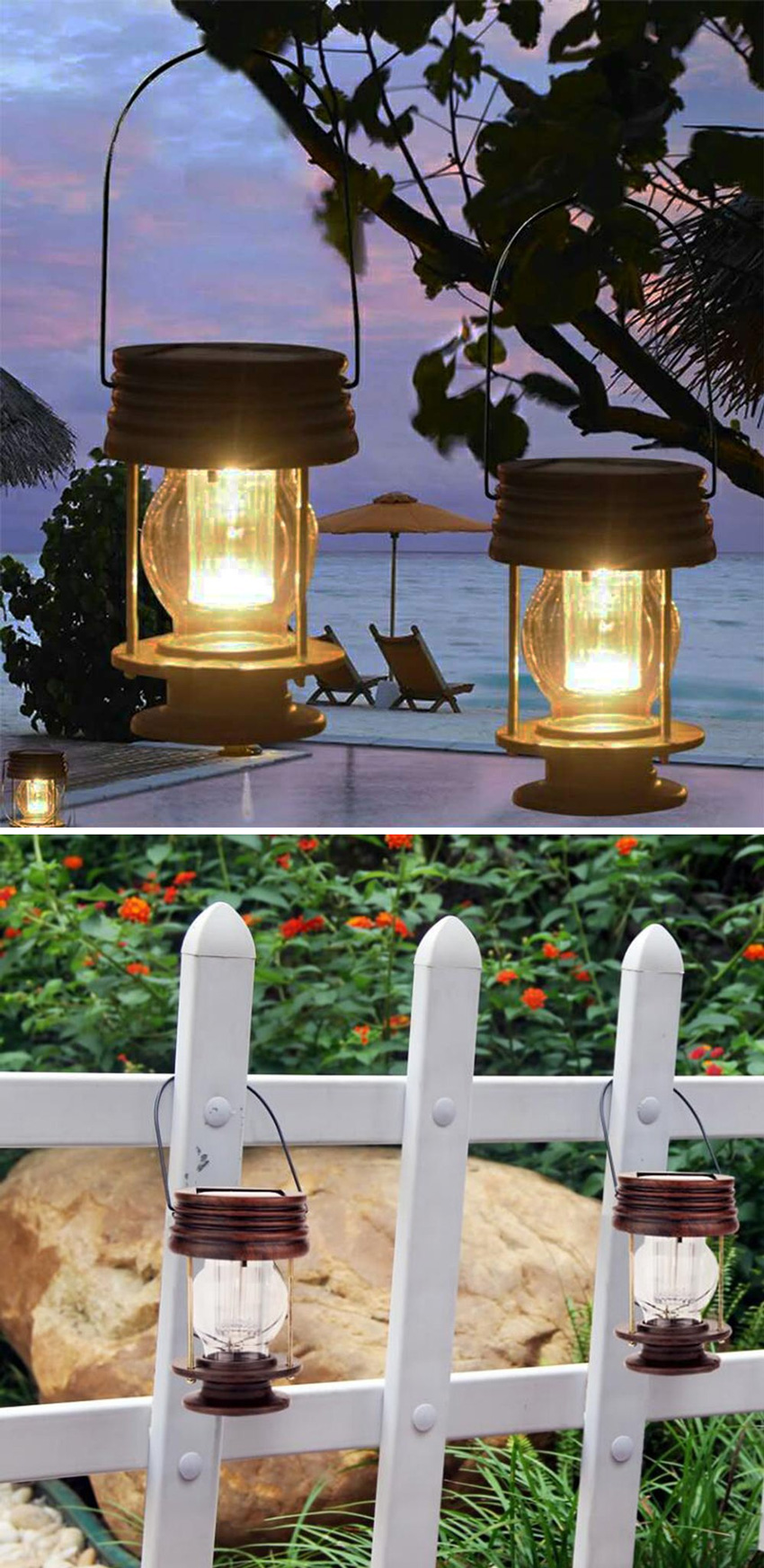 lanterne romantiche da esterno ad energia solare, ottimo per decorare una cerimonia.