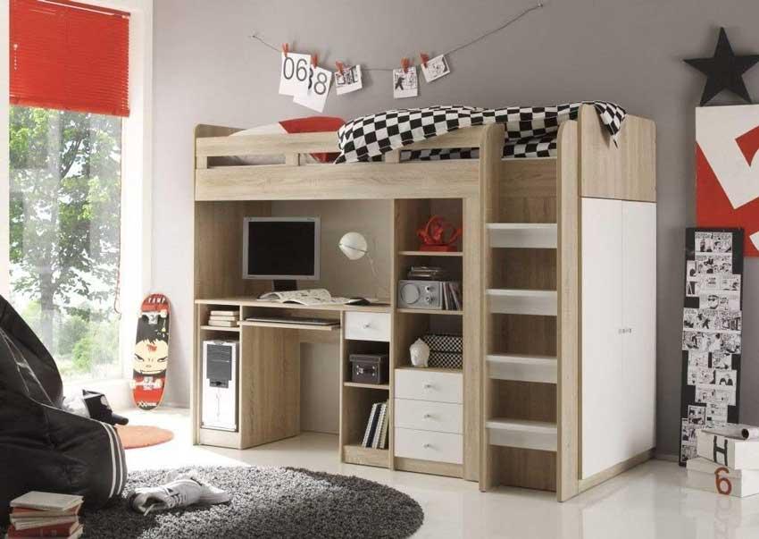 camerette per bambini a soppalco con scrivania e armadio.