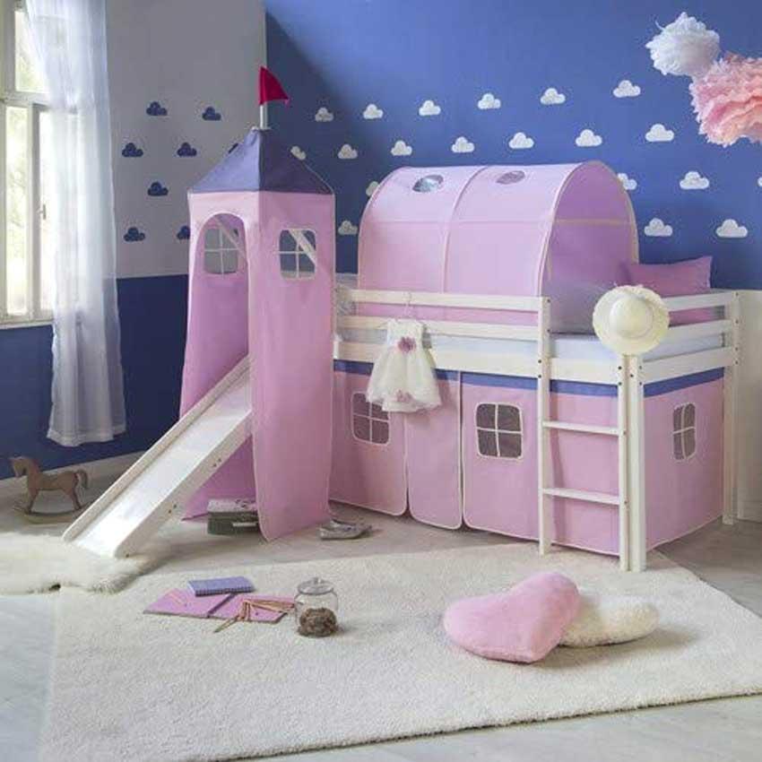 letto a soppalco trasformabile in castello rosa, bello per una ragazzina.