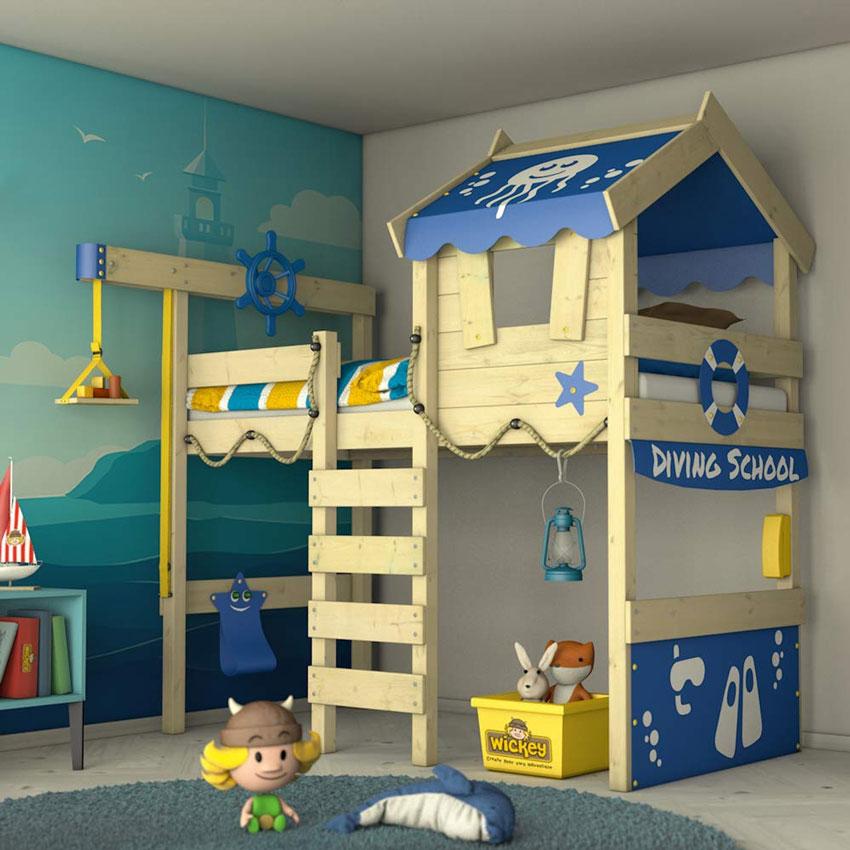 camerette per bambini con soppalco, ideale per guadagnare spazio nella stanza.