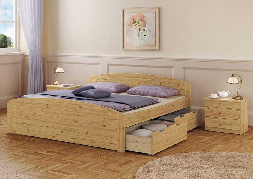 Camere da letto moderne con letti in legno con contenitore.