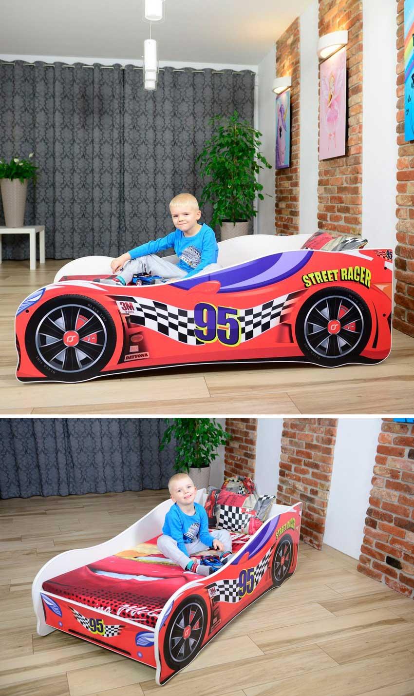 letto originale a forma di macchina sportiva per maschietto.