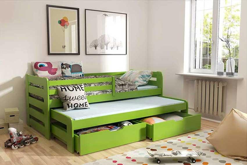 Letto verde per bambini con 2 cassetti sotto, ideale per guadagnare spazio in cameretta.