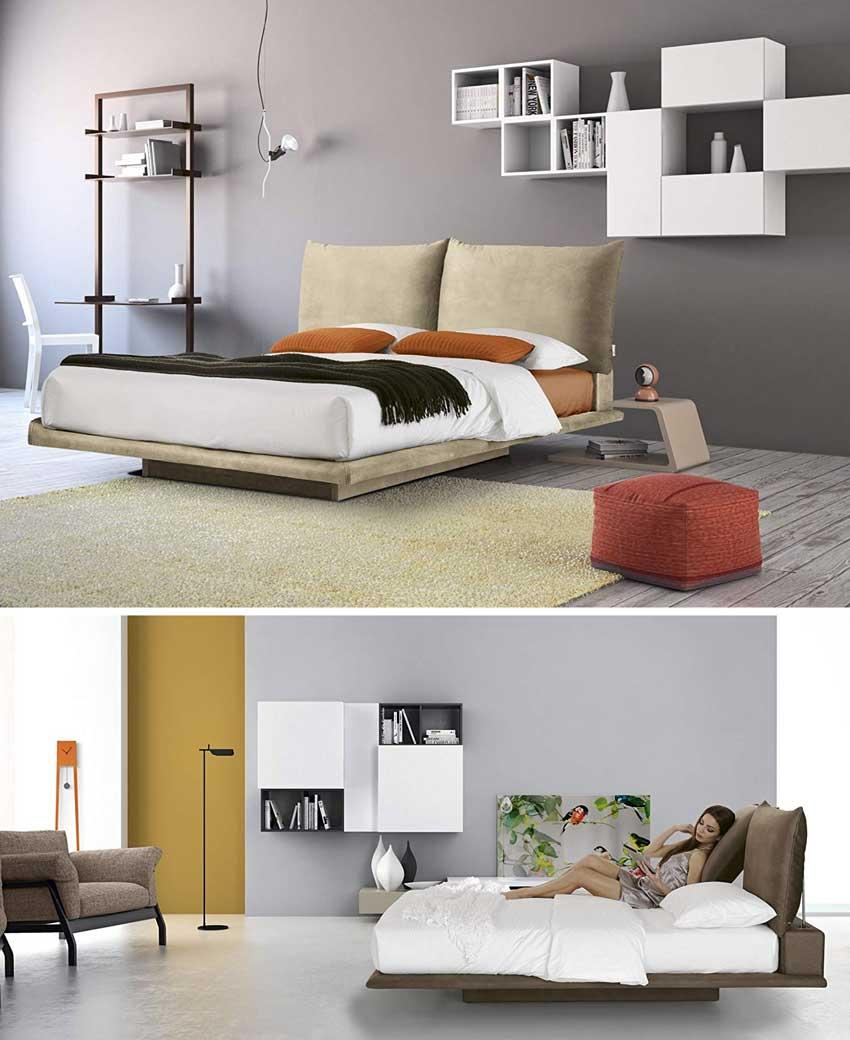 Camere da letto moderne con mensole bianche a muro, letto matrimoniale sospeso.