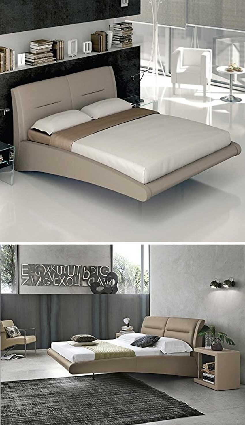 Camera da letto con arredamento moderno, letto sospeso.
