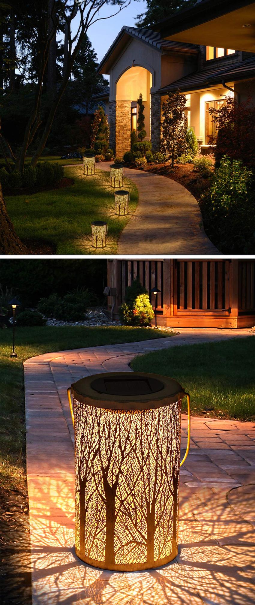 ingresso di casa illuminato con lanterne design ad energia solare.