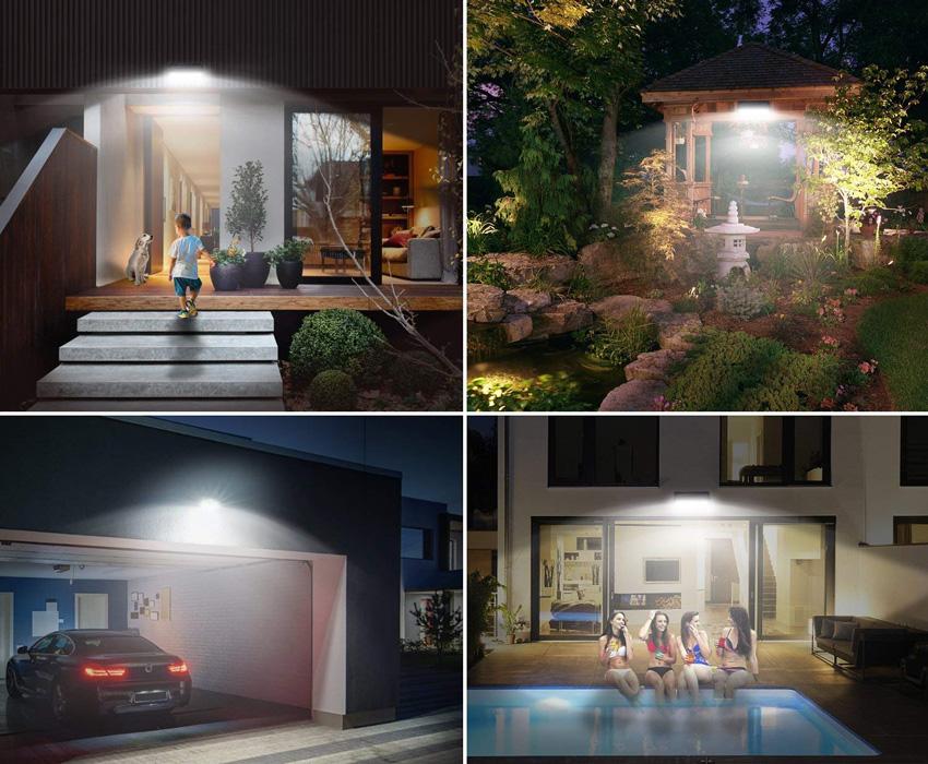 Luce solare esterna per piscina, gazebo o garage.