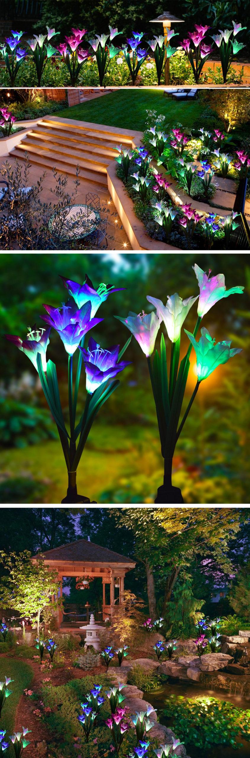 luci solari esterne colorate a forma di fiori.
