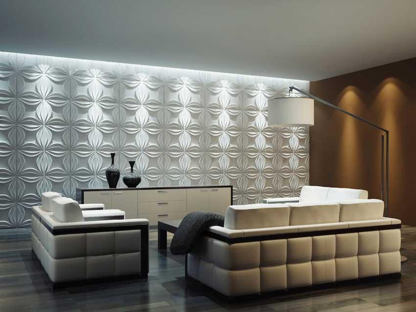 Soggiorno con parete rivestita con tavole adesive 3d, ideale per una casa moderna.