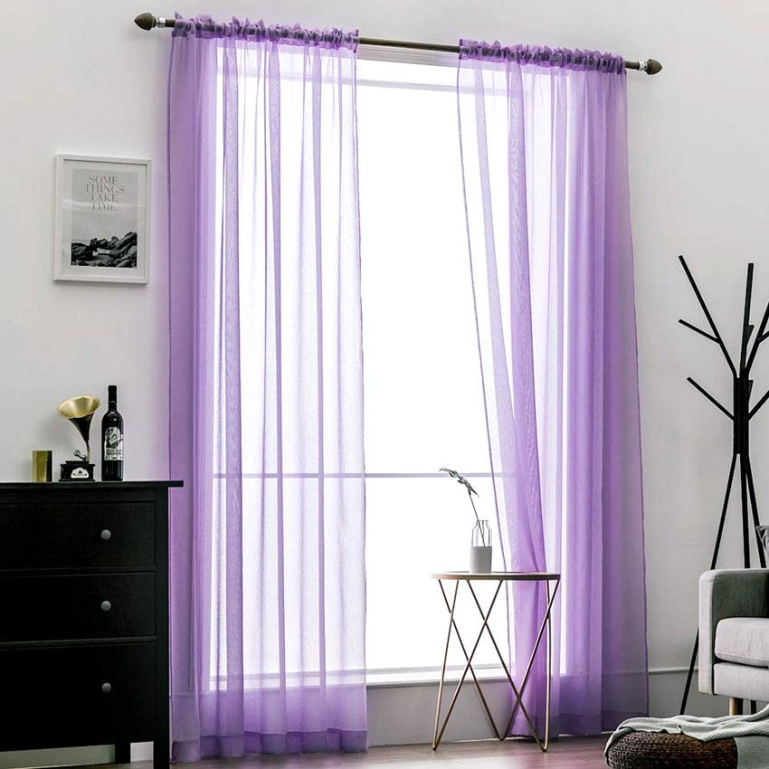 Tende viola trasparente per soggiorno moderno.