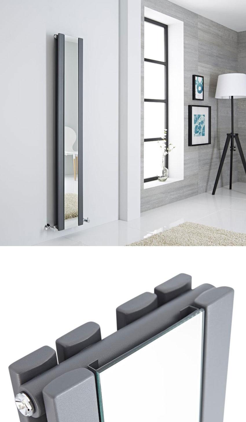 termosifone salvaspazio verticale con specchio, ideale per riscaldare il bagno.