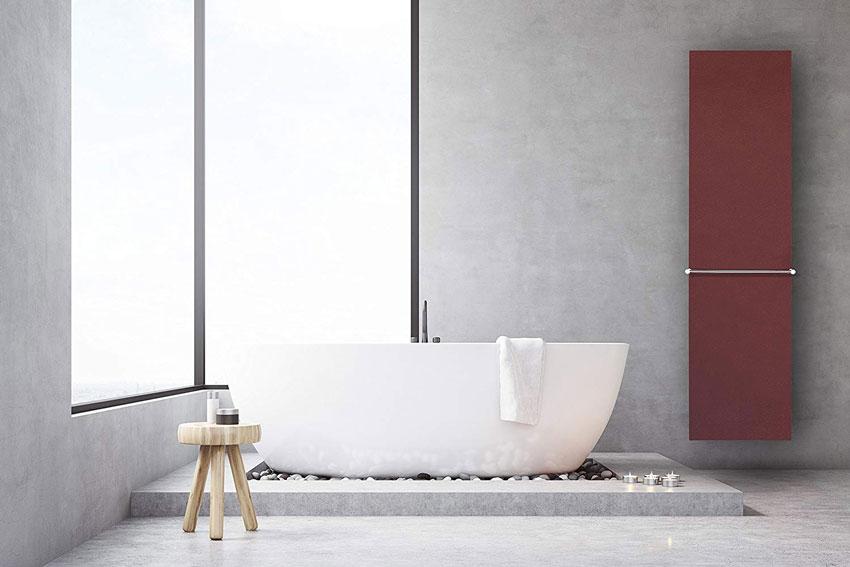 termosifoni design rosso in bagno.