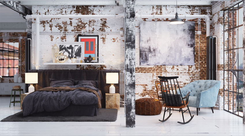 Splendido openspace dallo stile vintage con pareti con mattoni a vista.
