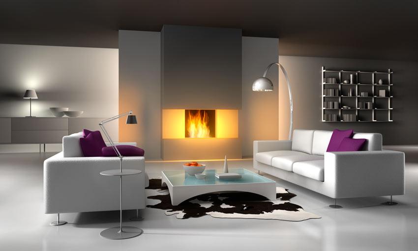 Soggiorno moderno con camino, divani bianchi con cuscini rosa, tavolino in vetro.