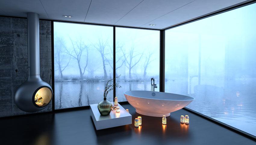 stufa sospesa molto design in questo bagno moderno.