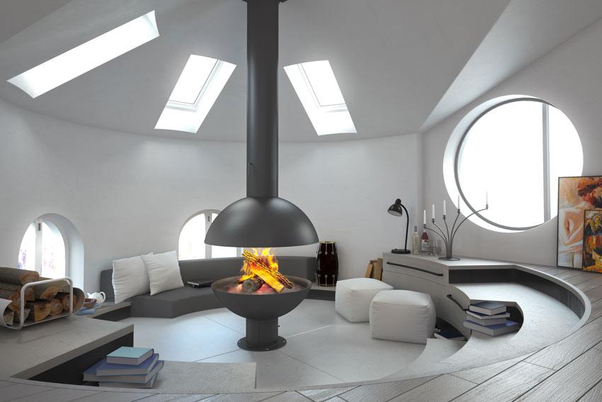 salotto in mansarda con camino dal design moderno.