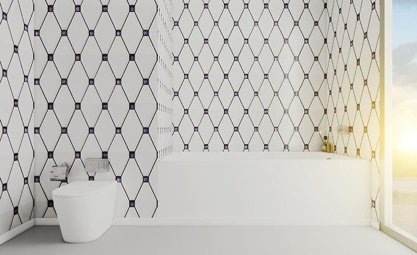 Bagno in muratura con piastrelle stile vintage.