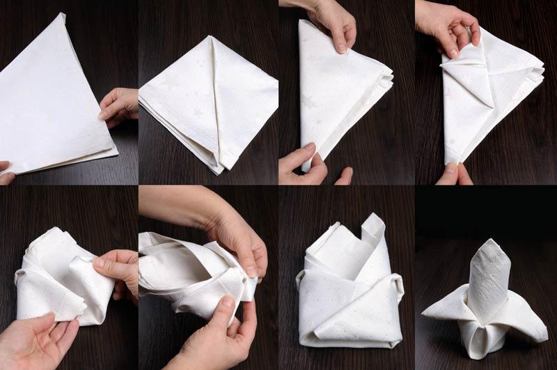 Tutorial per piegare i tovaglioli in modo originale per decorare la tavola.