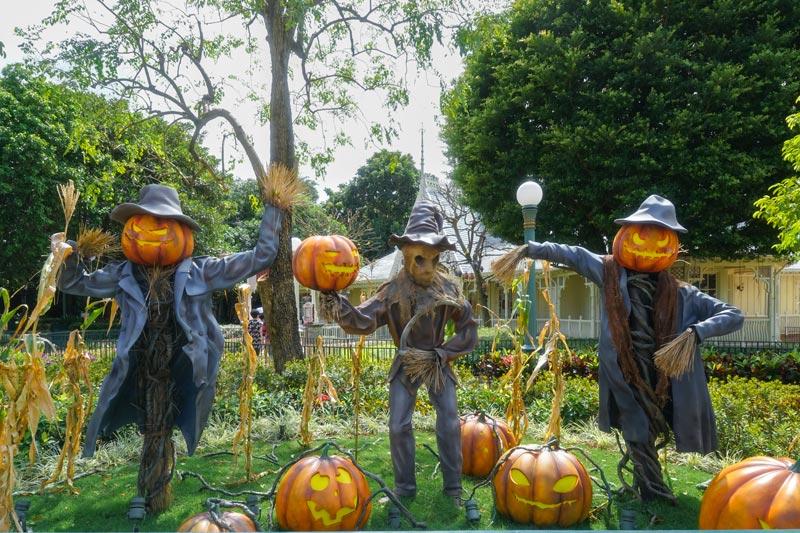 Decorazioni per Halloween in giardino.