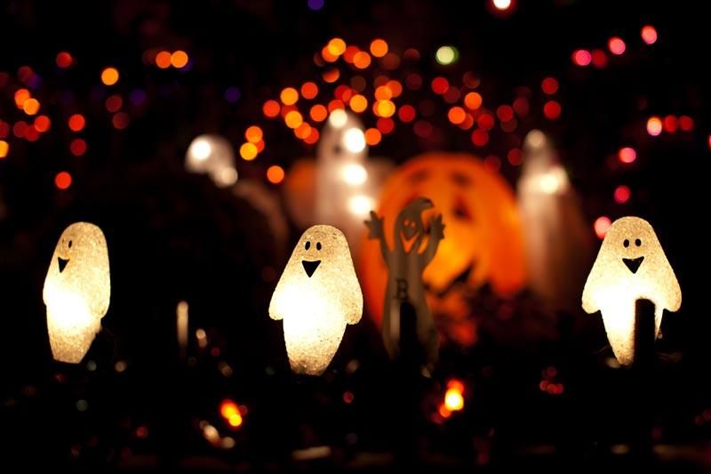 Decorazioni luminose per Halloween in giardino