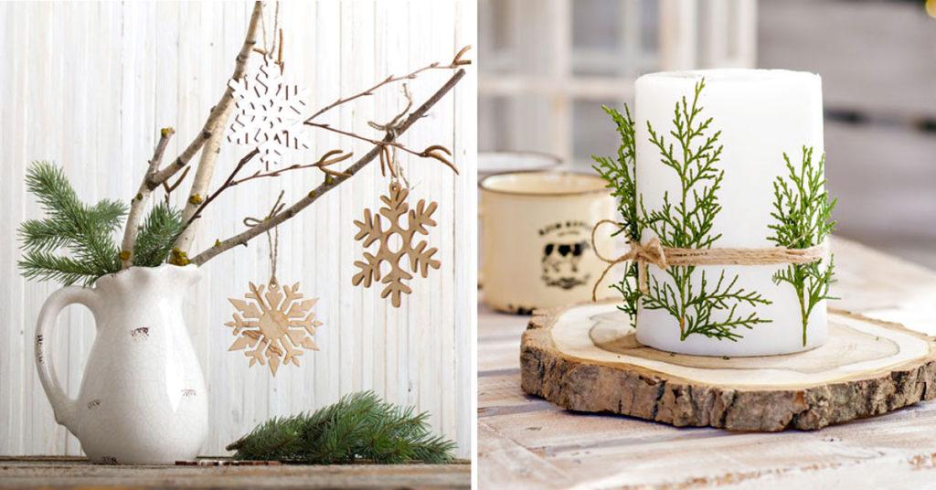 Composizioni natalizie fai da te con elementi naturali