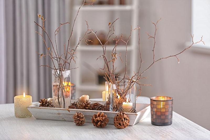 Bella composizione natalizia con rami secchi e pigne.