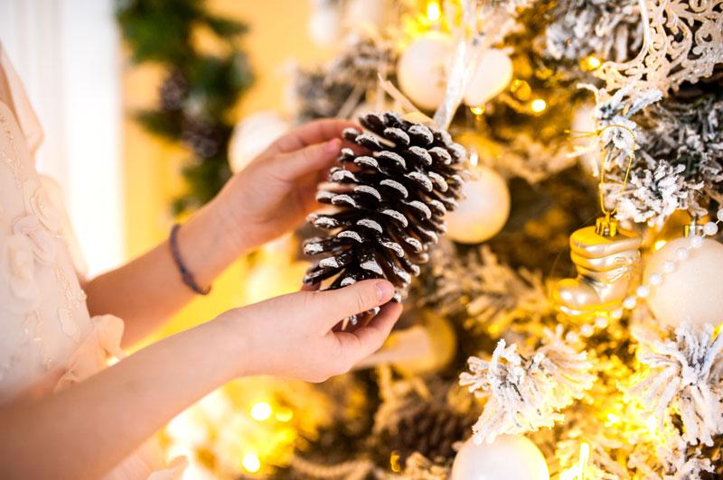 Albero di Natale decorato con le pigne.