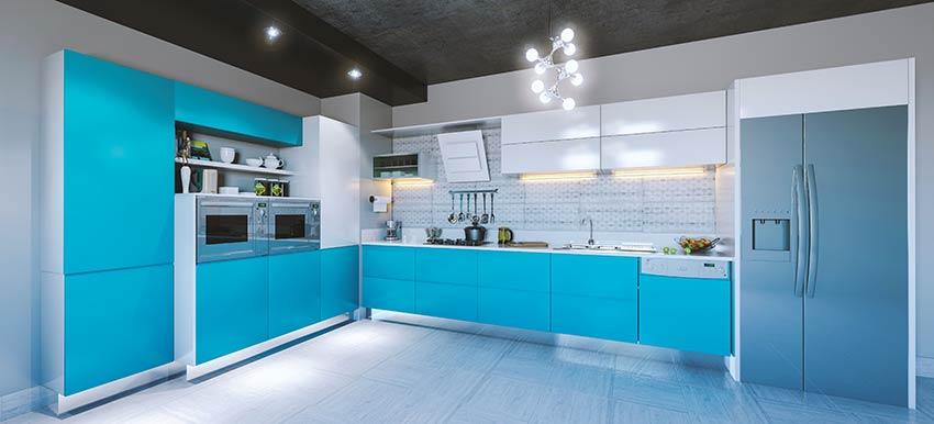 Una cucina moderna con il colore Bleached Coral, pantone 2020.