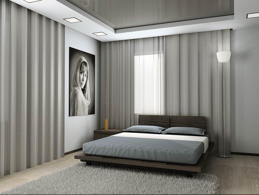 Tende camera da letto lineare, letto matrimoniale stile moderno.