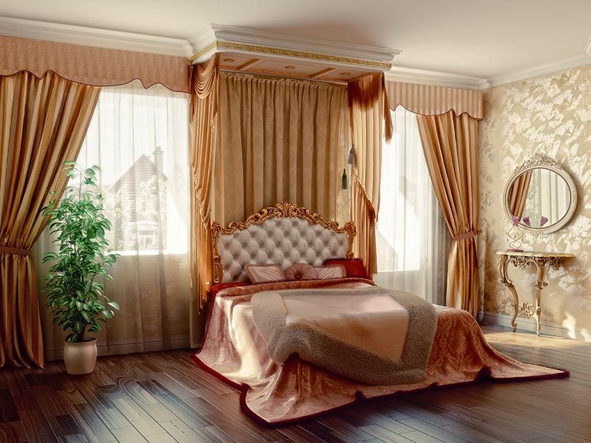 Bellissime tende stile chic in camera da letto.